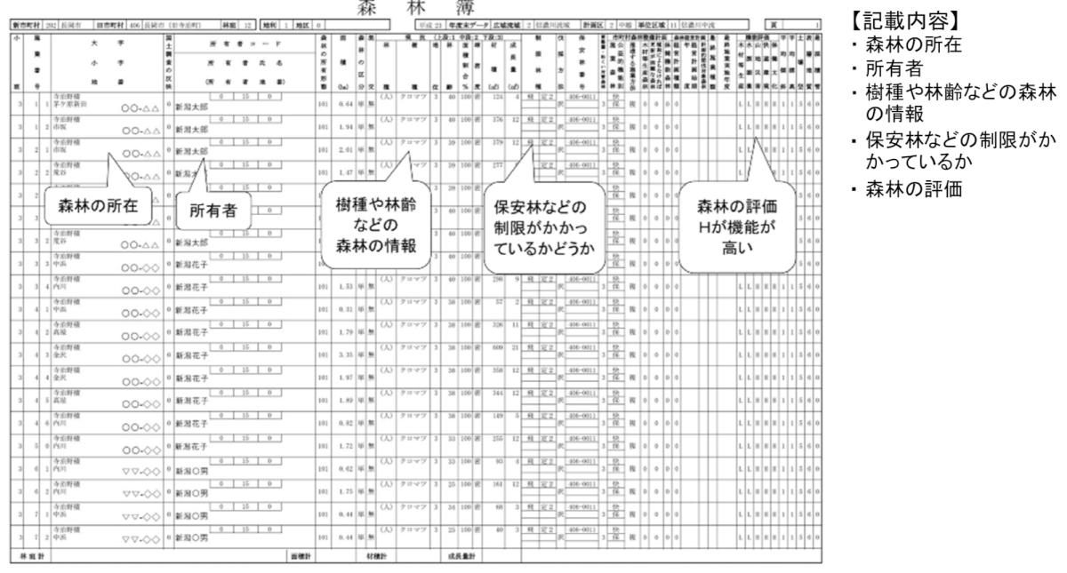 森林簿の例